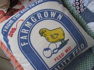 Chick Feed Sack Pillow